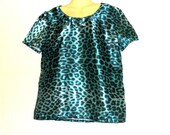 Shopping, Clothes,Leopard Print Top - Animal Print Top - Short Sleeve Top - Satin Top - Size 14 - Size 12 - By Rebeccas Clothes