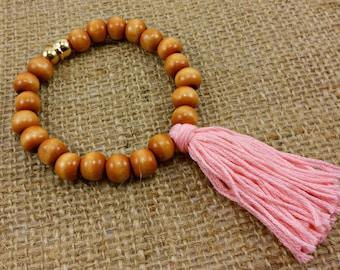 Boho Tassel Bracelet in Pink