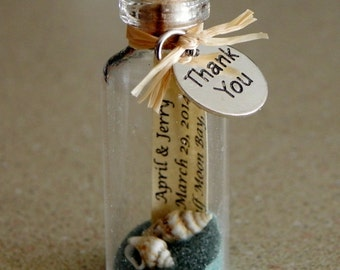 THANK YOU Mini Message Bottle FAVORS green / blue custom