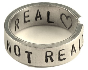Not Real - Real - Adjustable Hand Stamped Hammered Aluminum Ring