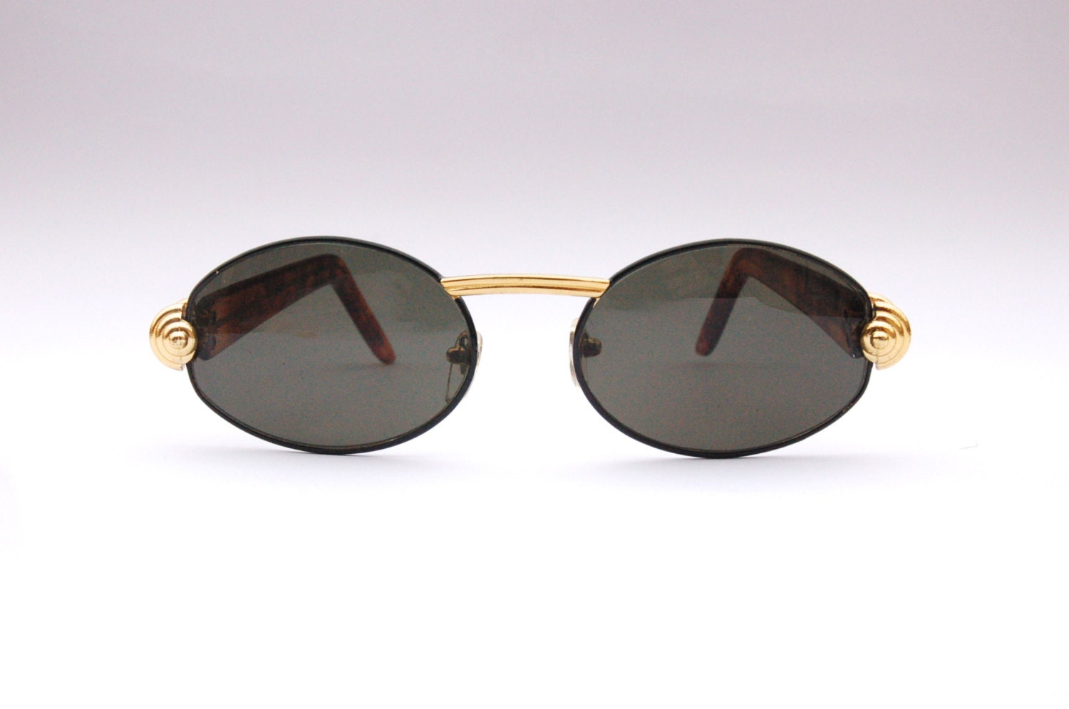 Vintage 90s Round Sunglasses / Oval Shades / w Gold Tone and