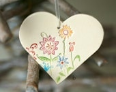 Ceramic Flower Heart Valentines Decoration Colorful Pottery Ornament