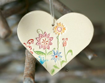 Christmas Ornament Ceramic Flower Heart Christmas Decoration Colorful Pottery Ornament Christmas tree ornament white holiday decoration