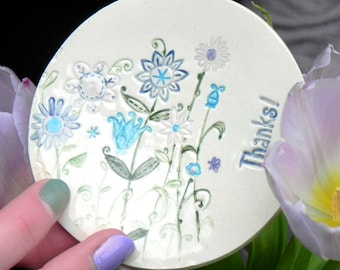 Thanks Ceramic Ring Dish Flower Plate Colorful Grandmother Gift  Pottery Ring Holder Bridal Shower Jewelry Dish