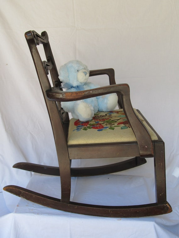 antique wooden children 39 s rocking chair with needle point vvseat cover