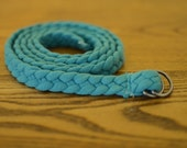 Skinny Braided Jersey Knit Belt (Turquoise)