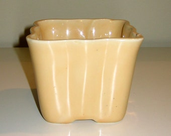Vintage Yellow Square Planter, Numbered 484