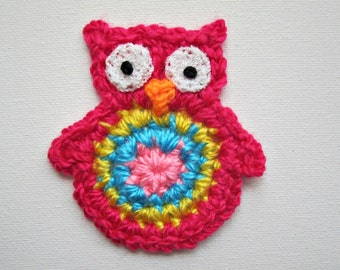 "1pc 3"" Crochet  HOT PINK OWL Applique"