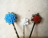 Red White and Blue Hair Accessories. Summer Hair Styles. Flower Hair Pins. Antique Brass Filigree Bobby Pins. Set of 3.
