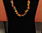 Reserved for Jeanne at Mywreaths  -  Custom Made Multi-colored Turquiose Necklace and Earrings Set