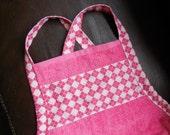 Baby Bath Apron Towel - pink argyle