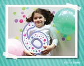 Birthday candle photo prop printable - number 6 girl