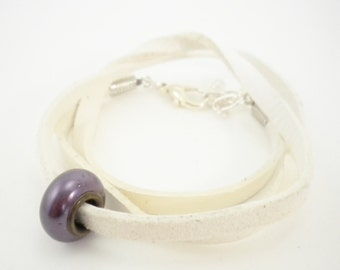 White Leather Convertible Wrap Bracelet with Lavender Purple Pearl Bead / Necklace / Anklet