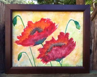 Watercolor Poppies 11x14 Original Fibe Art