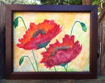 Watercolor Poppies 11x14 Original Fibe Art