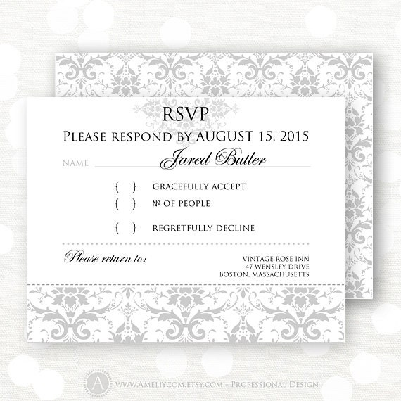 Items similar to printable rsvp card gray damask winter wedding reply card response cards rsvp for Printable rsvp card