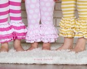 Girls triple ruffle striped Capri or full leggings.   Many colors  and patterns available.  Sizes 12 months to 12 years.