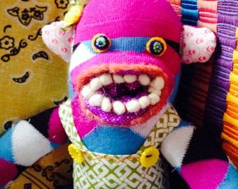 SALE! girl sock monkey