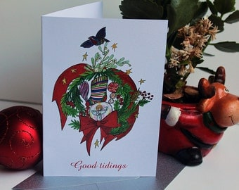 Set of 8 Custom Christmas Greeting cards 'Joy'. Original illustration. British family Christmas cards UK. Red and green design