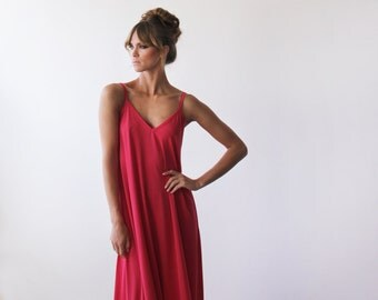 Coral red straps dress, Casual maxi basic dress
