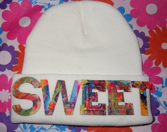SWEET White Beanie Marbled Hat