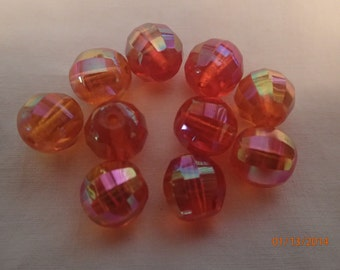 Vintage 1960's Orange AB Glass Round Faceted Beads