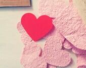Groeipapier harten confetti, huwelijk, valentijnsdag, hand gemaakt gerecycled papier, met biologische bloemen zaden, DIY, 40 st