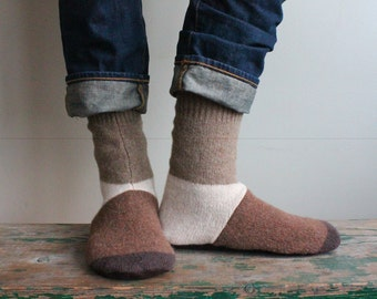 Men's Wool Slippers with leather sole /Cottage Socks with Leather Sole