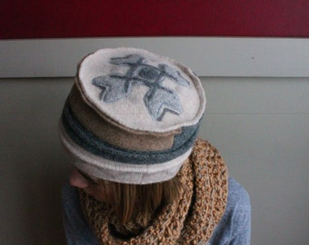 Felted Wool Pill Box Hat, Women's Small or Youth