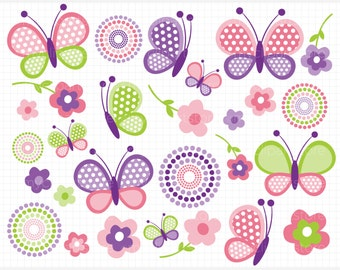 Clipart - Mother's Day / Pink Butterflies / Spring Butterfly - Digital Clip Art (Instant Download)