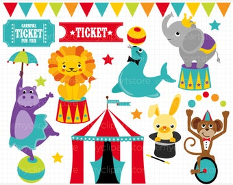 Clipart -  Circus Animals / Carnival / Big Top - Digital Clip Art (Instant Download)