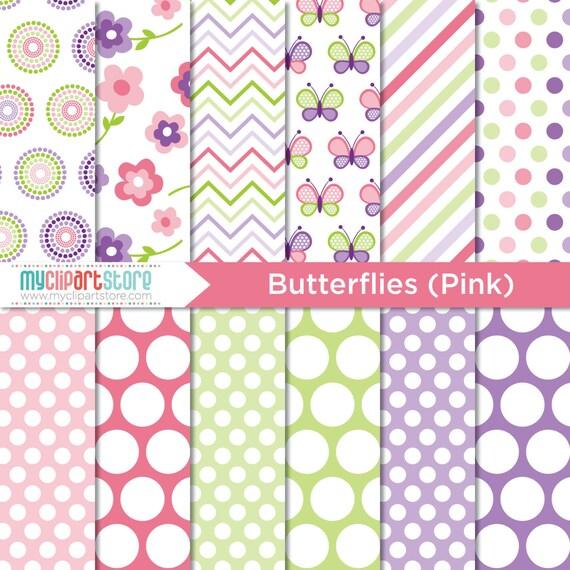 Digital Paper - Mother's Day / Pink Butterflies - Instant Download
