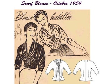 Paper Pattern O-Retro Collection: Scarf Blouse - October 1954, Et-pOct1954