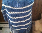 Stevie Nicks inspired shawl (acrylic blue and cream) reserved listing for Alexis