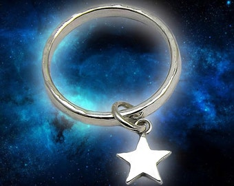 Star Charm Ring In Sterling Silver