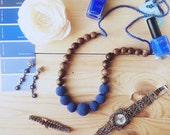 Solid color Nursing necklace navy blue crochet teething beads