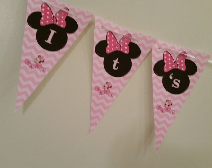 Minnie Mouse baby shower banner that says Its a girl: printed and shipped to you