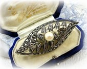 Art Deco Marcasite Brooch with Real Pearl German 1940s Fahrner Era 935 Silver
