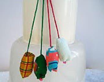 The Handmade Pom Pom Earphone plug. Japanese Fabric