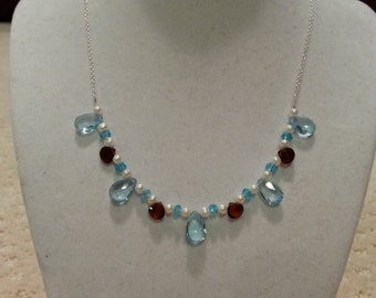 Blue Topaz, Garnet, Freshwater Pearl Necklace, with Blue CZ's