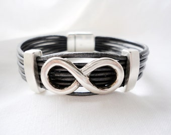 infinity bracelet for men, for women, leather and silver plated,