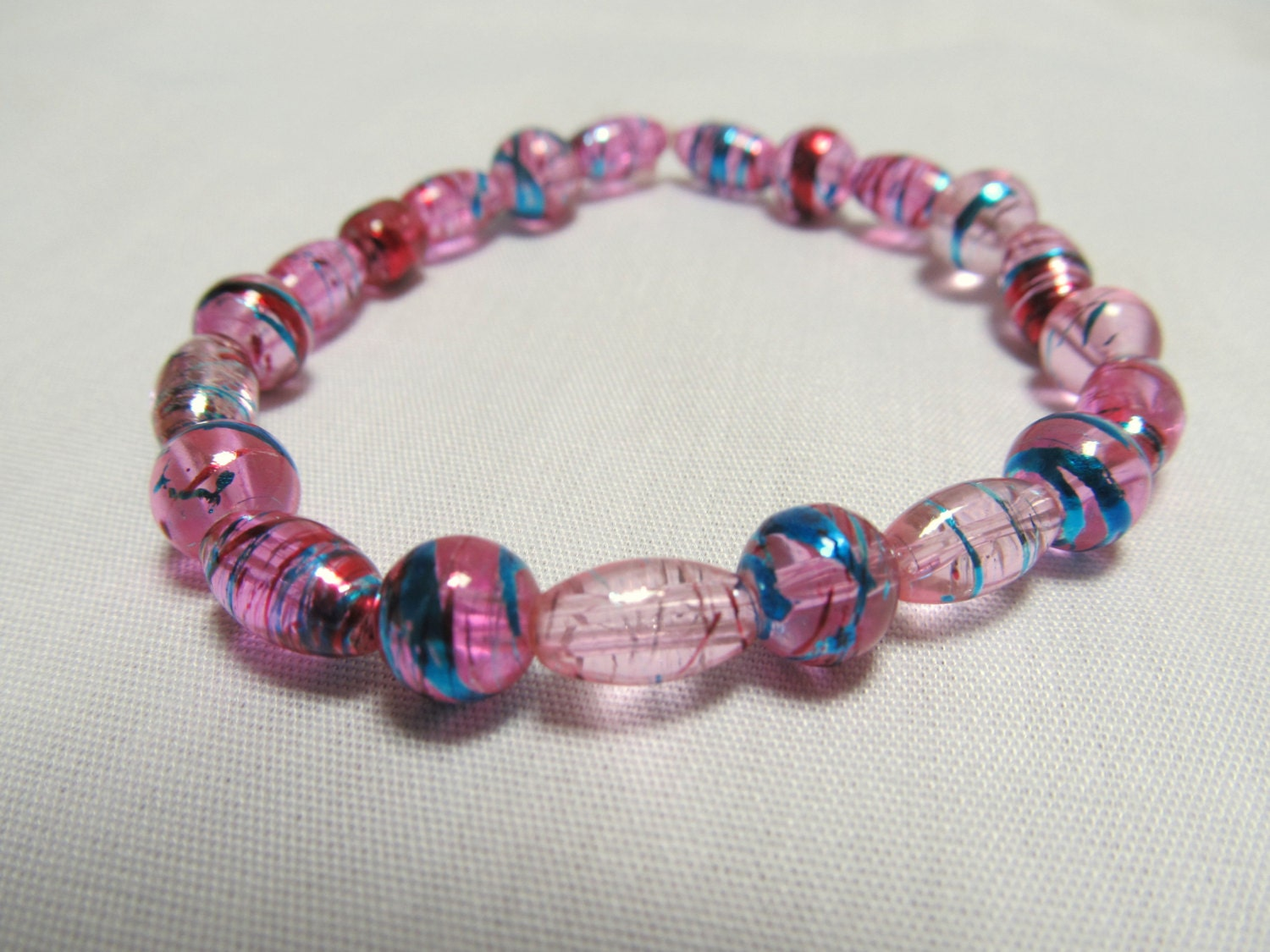 s stretch cord beaded bracelet clear pinks with