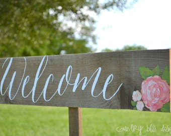 Wedding Welcome Sign, Wedding Directional Sign, Welcome Wedding Sign , Calligraphy Wedding Sign , Guest Sign In , Wedding Sign with Flowers