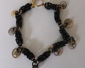 Byzantine chainmille bracelet, black ladies bracelet, charm bracelet, Steampunk bracelet, gift for her,  mother's day gift, black byzantine