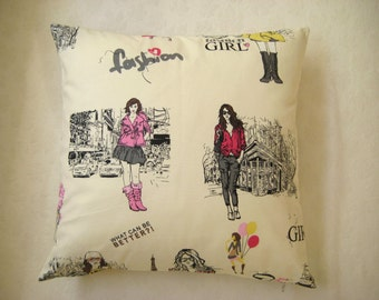 """Fashion Pillow - For Teenage Rooms - Linen Beige, Pink, Yellow - 18x18"""" - Gift for Her, for Girls - Ready for Shipping"""