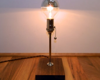 Reclaimed Walnut & Nickel Lamp