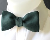 Mens  bowtie -  made in forest green Italian Linen - classic self tie / freestyle mens bowtie