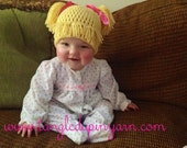 Newborn to 24 mo Cabbage Patch Kid Hat with Pig Tails Choose your own color