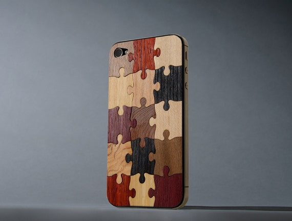Random Puzzle iPhone 4/4s Real Wood Skin - Made in the USA - FREE Shipping