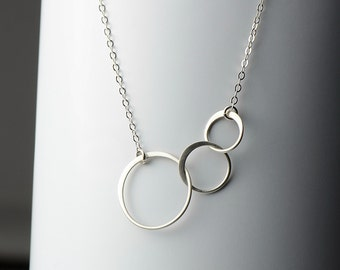 All Sterling Eternity Necklace, infinity three ring necklace geometric jewelry